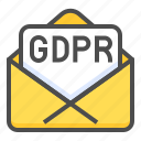 compliance, gdpr, law, letter, mail, protection, regulation icon