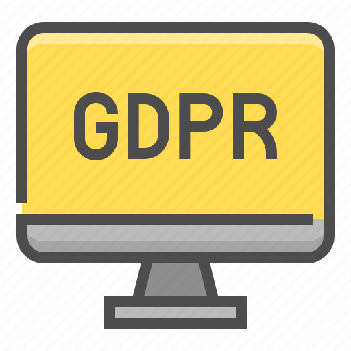 compliance, display, gdpr, monitor, protection, regulation, screen icon