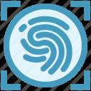 biometric, data, detect, fingerprint, recognition, scan icon