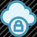 cloud, cloud lock, cloud security, lock, protection, security, sky icon