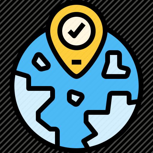 globel, gps, location, pin, world icon