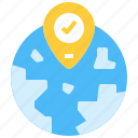 globel, gps, location, pin, world icon