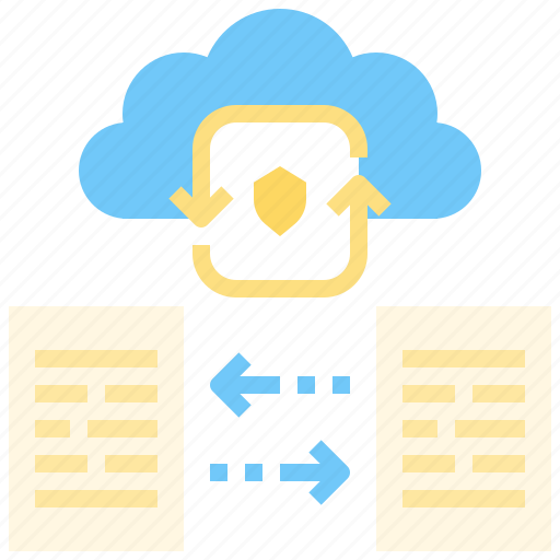 cloud, computing, data, file, network, online, protection, storage icon