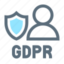 compliance, gdpr, profile, protection, regulation, shield, user icon