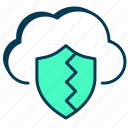 cloud data, data breach, data protection, data security, data theft, firewall, security icon