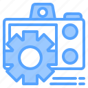 camera, file, folder, gear, lock, search, tool icon