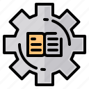 book, file, folder, gear, lock, search, tool icon