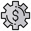 dollar, file, folder, gear, lock, search, tool icon