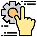 file, folder, gear, gesture, lock, search, tool icon