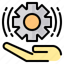 file, folder, gear, hand, lock, search, tool icon