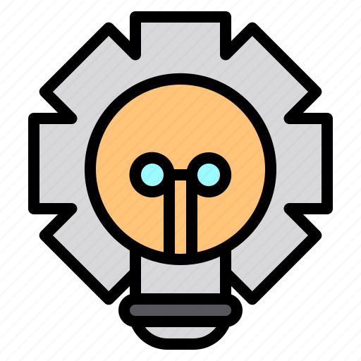 file, folder, gear, lamp, lock, search, tool icon