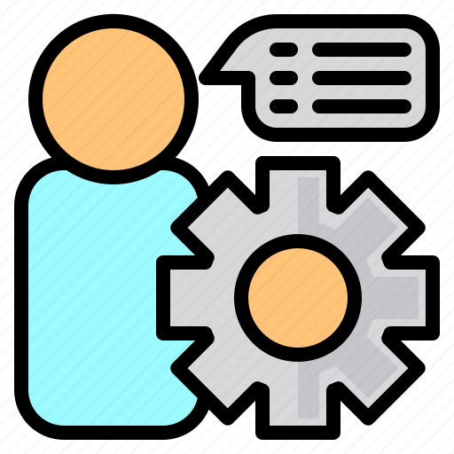 file, folder, gear, message, people, search, tool icon