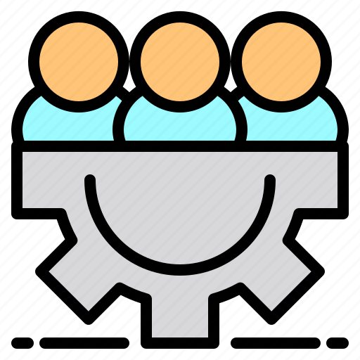 file, folder, gear, network, people, search, tool icon