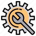 electronic, file, folder, gear, lock, search, tool icon