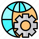 file, folder, gear, search, tool, wide, world icon