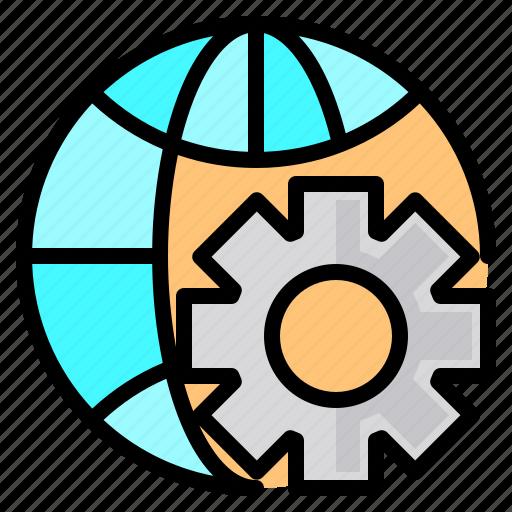 file, folder, gear, search, tool, wide, world icon