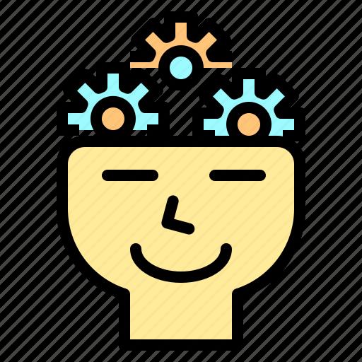 file, folder, gear, human, search, thinking, tool icon