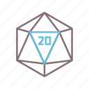 cube, d20, dice, game icon
