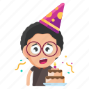 birthday, emoji, emoticon, geek, male, man, sticker icon