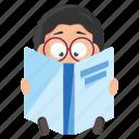 emoji, emoticon, geek, male, man, reading, sticker icon