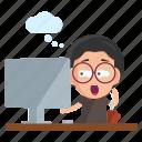 emoji, emoticon, geek, male, man, sticker, working