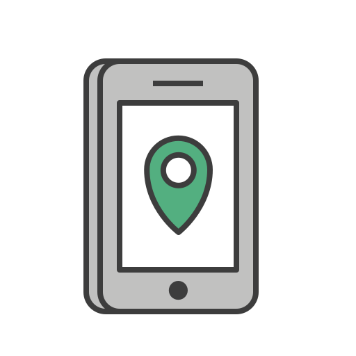 application, journey, location, marker, phone, pin, travel icon
