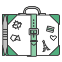 baggege, case, journey, stickers, suitcase, travel, travelling icon