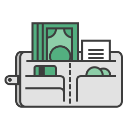 cash, checkout, credit card, journey, money, travel, wallet icon