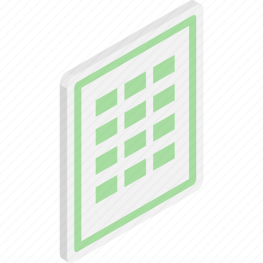 excell, files, isometric, microsoft, microsoft excell, sheet, timesheet icon