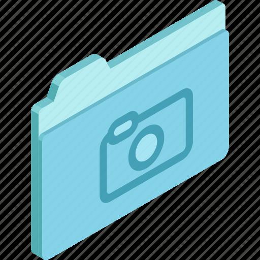 files, folder, isometric, photo, photo folder icon