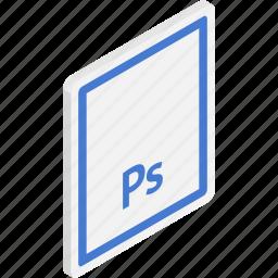 adobe photoshop, file, files, isometric, photoshop, psd icon