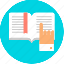 book, elearn, elearning, read, reading, study, studying icon