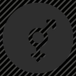 arrow, bigender, female, gender, male, relationship icon
