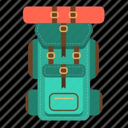 backpack, bag, compact, knapsack, travel, travel backpack, travel bag icon