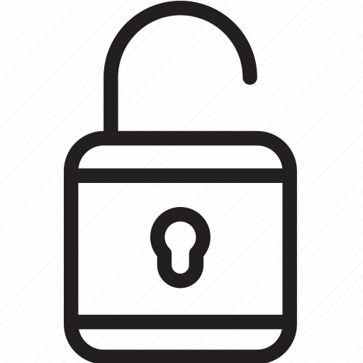 general, line, lock, privacy, safe, safety, unlock icon