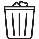 clean, general, junk, line, recycle, trash can icon