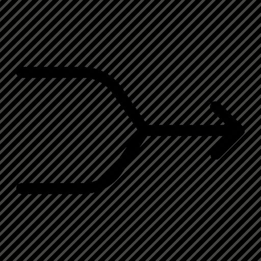 arrow, converge, direction, merge, narrow way icon