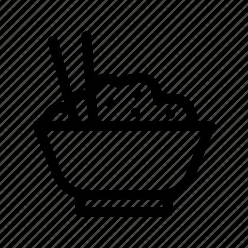 bowl, chop stick, food, hot, rice icon