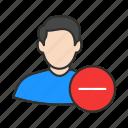 delete user, male avatar, male user, minus user icon