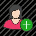add user, create user, female avatar, female user icon