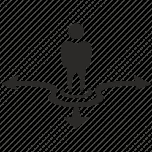 arrow, choice, location, logic, motion, way icon