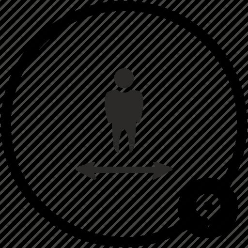 arrow, location, motion, person, way, width icon
