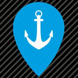 anchor, boat, geo, location, pointer, sea, ship icon
