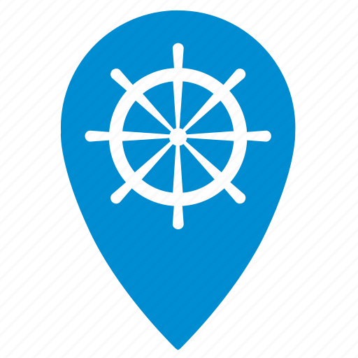 boat, geo, location, pointer, ship, steering, wheel icon