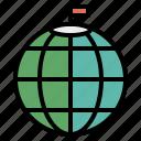 flag, globe, north, pin, pole, top icon