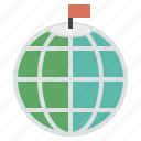 flag, globe, north, pin, roof, top icon
