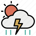clouds, meteorology, rain, storm, sun, thunder, weather icon