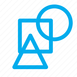 circle, shapes, square, triangular icon