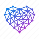 affection, award, bookmark, favorite, geometric, heart, like, love, polygonal, relationship, valentine icon