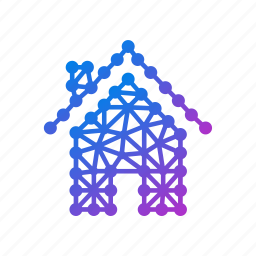 building, estate, geometric, home, house, polygonal, property, real estate icon